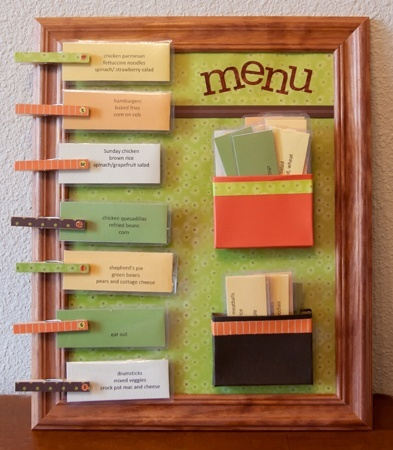 o pockets (made from 16 count crayon boxes,) I can store all of my meal cards right on the board. With a rotating system, I start with all the cards in the lower box. After we have a particular meal, I place its card into the upper box until we go through the majority of the cards. Then, I start over choosing from all of them again.  4) Clothespins mean darkpixie08
