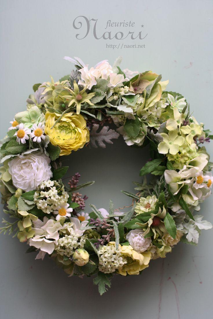 naori+florist | ... とミントのグリーンリース artificial flower 20130716