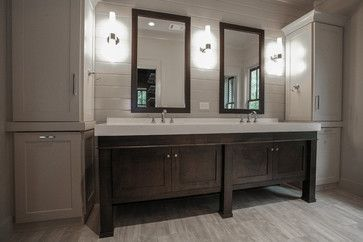 Master bath double sink vanity idea. I would love to find a dresser to convert to something along this line.