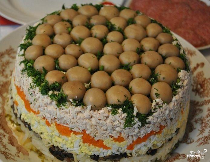 "Салат ""Грибная поляна"" - пошаговый кулинарный рецепт на Повар.ру"