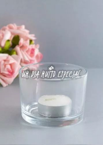 porta vela vidro redondo c/ vela rechaud castiçal - 10 unds