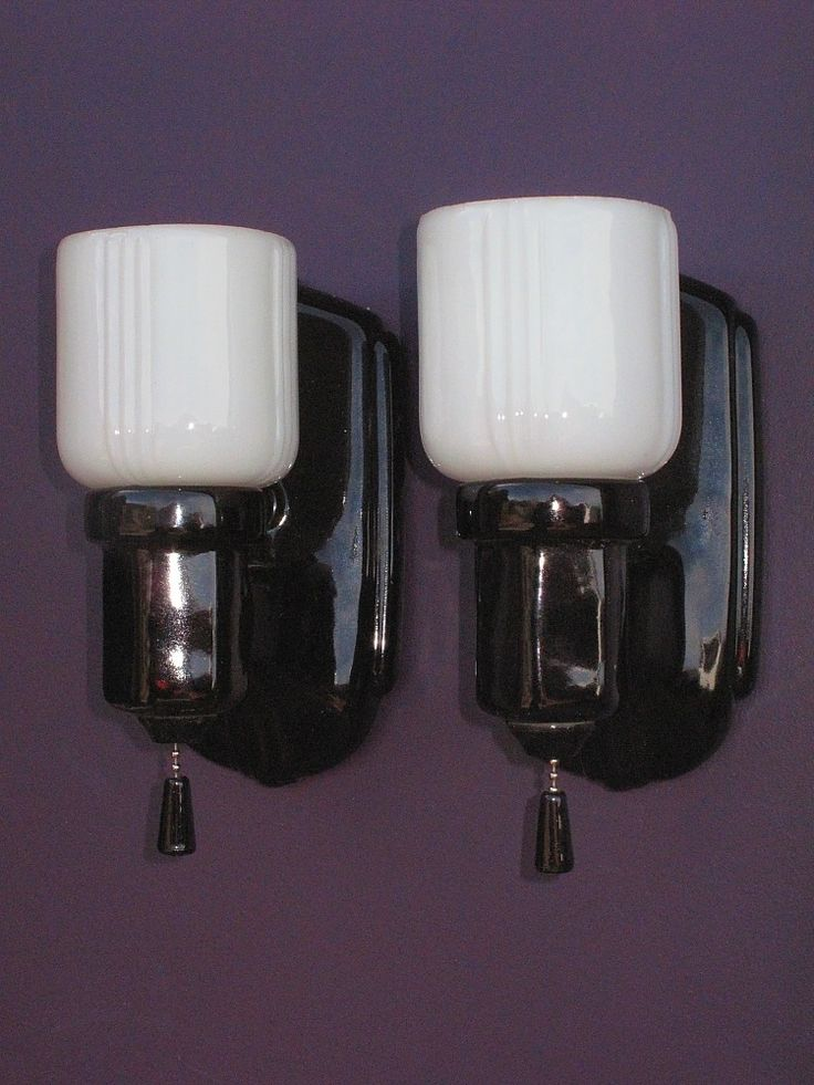Vintage Pair Black Porcelain Bathroom Wall Sconces With