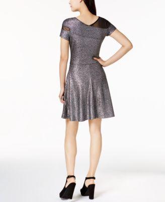 Bar Iii Metallic Fit & Flare Dress, Created for Macy's - Silver XXL