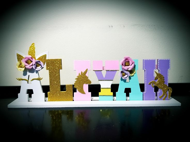 8 inch wood letters unicorn theme