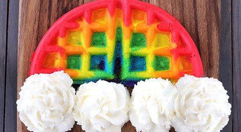 Rainbow Waffles!  That will make anyone's day start right!