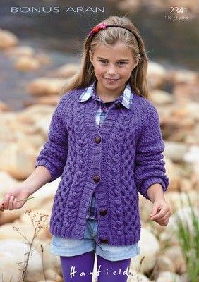 Hayfield 2341 Cardigan in Hayfield Bonus Aran (#4) weight yarn. Sizes 1-12 years old.