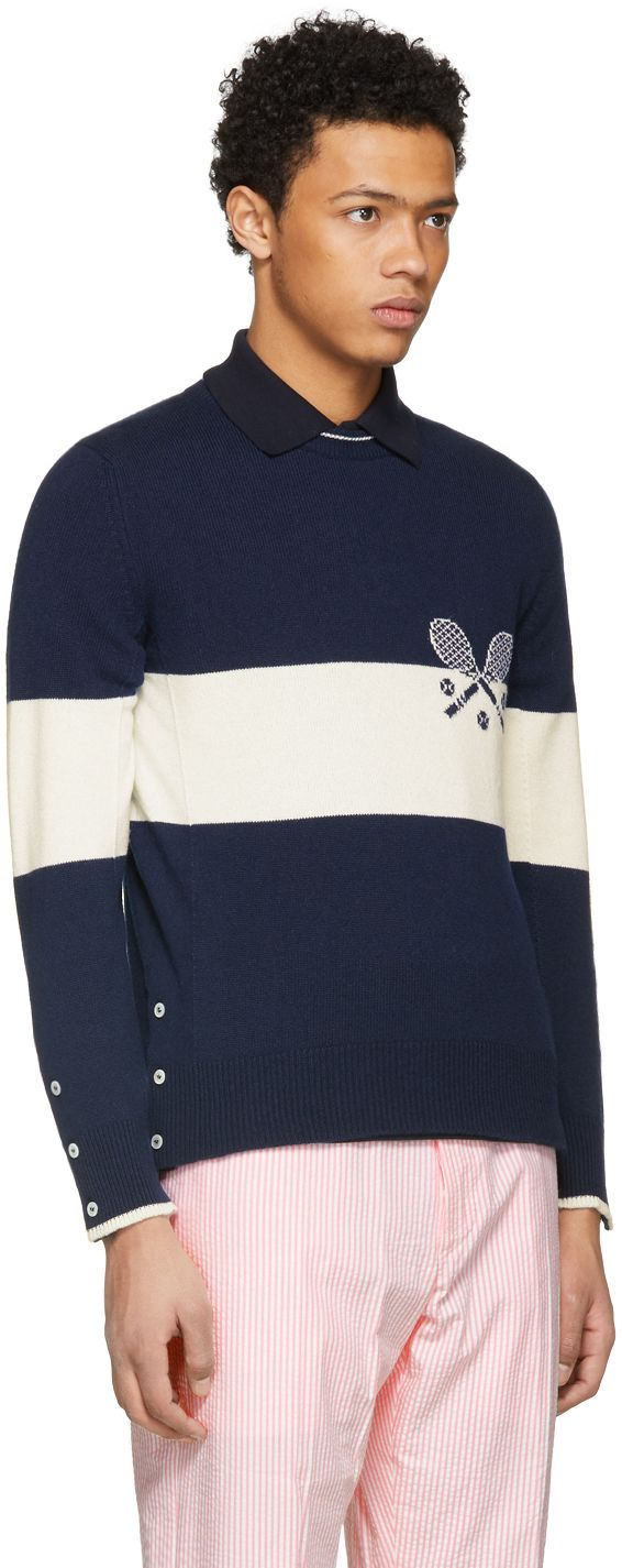 Thom Browne - Navy Tennis Knit Sweater