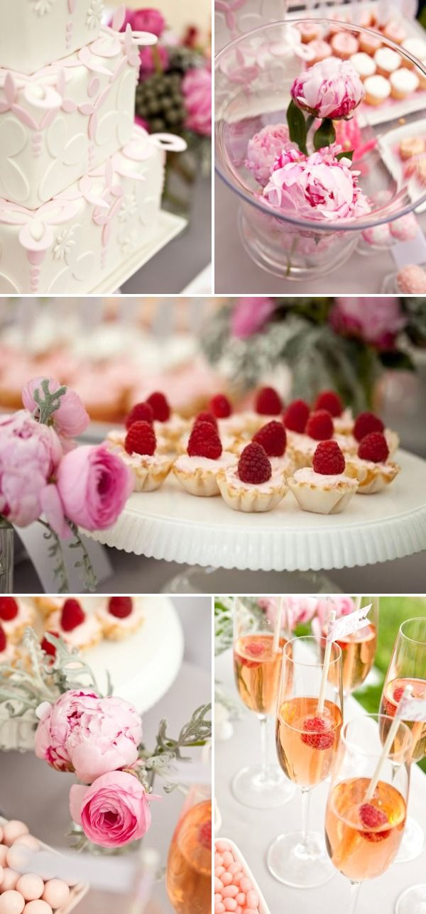 Pink, grey and white dessert table
