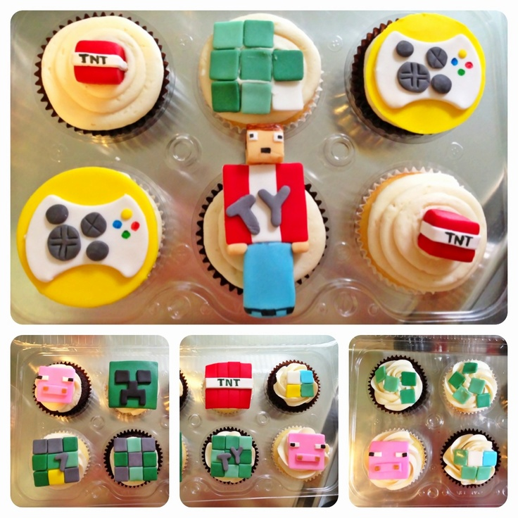 Minecraft Cupcakes For a 7th Birthday Party