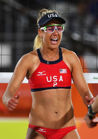 #RIO2016 Best of Day 1 - April Ross of the United States celebrates a point during the Women's Beach Volleyball preliminary round Pool C match against Mariafe Artacho del...