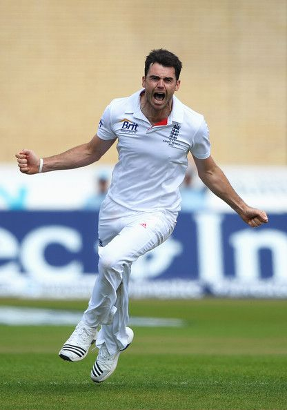 James Anderson of England celebrates the wicket of Ashton Agar of Australia during day five of the 1st Investec Ashes Test match between England and Australia at Trent Bridge Cricket Ground on July 14, 2013 in Nottingham, England.
