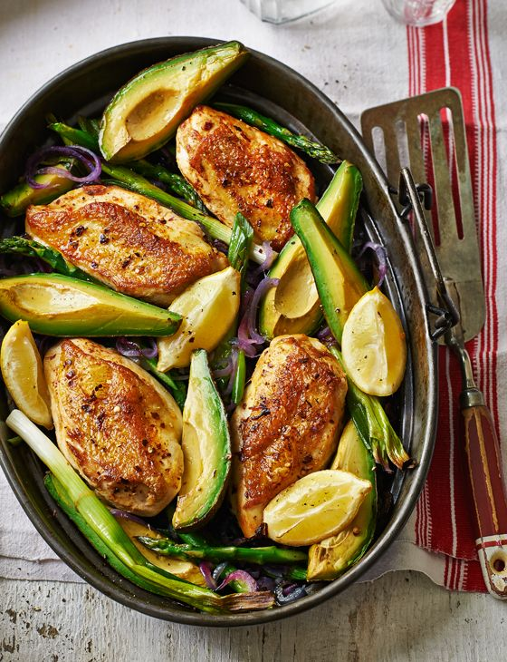 Oven-roasted chicken and avocado with asparagus - an easy supper for when time is of the essence.
