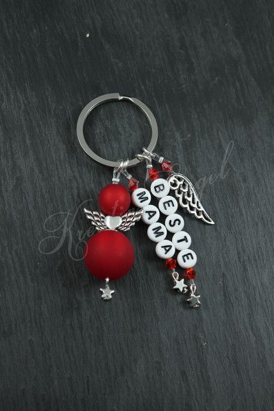 Schlüsselanhänger – Schutzengel Schlüssel Anhänger ♥ Beste Mama ♥ Rot – …