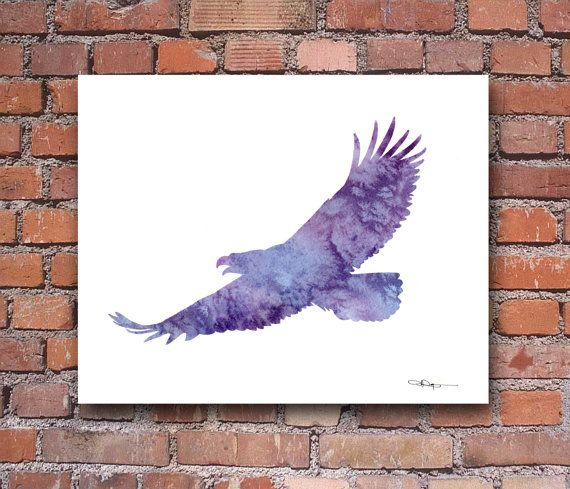 Eagle Watercolor Art Print Abstract Painting by 1GalleryAbove