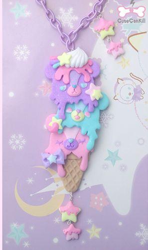 Fairy kei fashion necklace bear pastel colourful