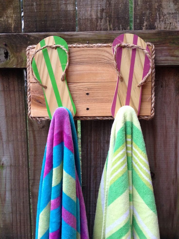 Flip Flop Towel Holder Outdoor Towel Hooks Bathroom Towel Rack Beach Bag Hooks Pool Decor