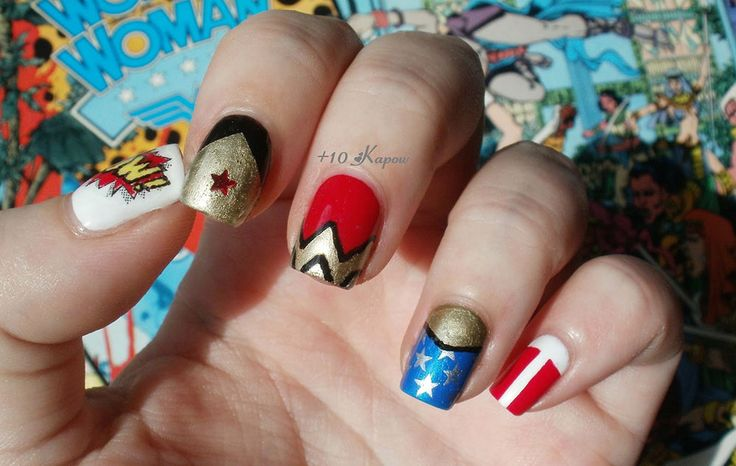 1000 images about superheros nails on pinterest nail for Decoracion wonder woman