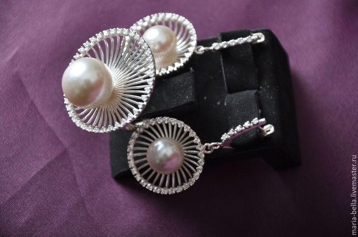 Купить Жемчужное лето. Серебряные серьги и кольцо с жемчугом, цирконами - белый, жемчужное украшение