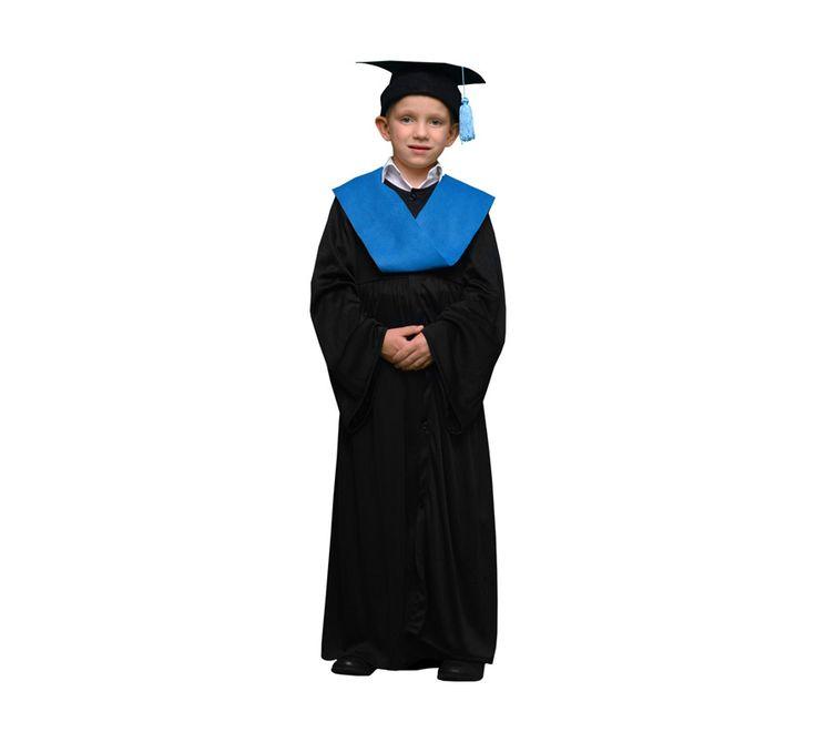 #Disfraz de #Licenciado o #Graduado azul para #niños. #toga #beca #graduación #disfraces