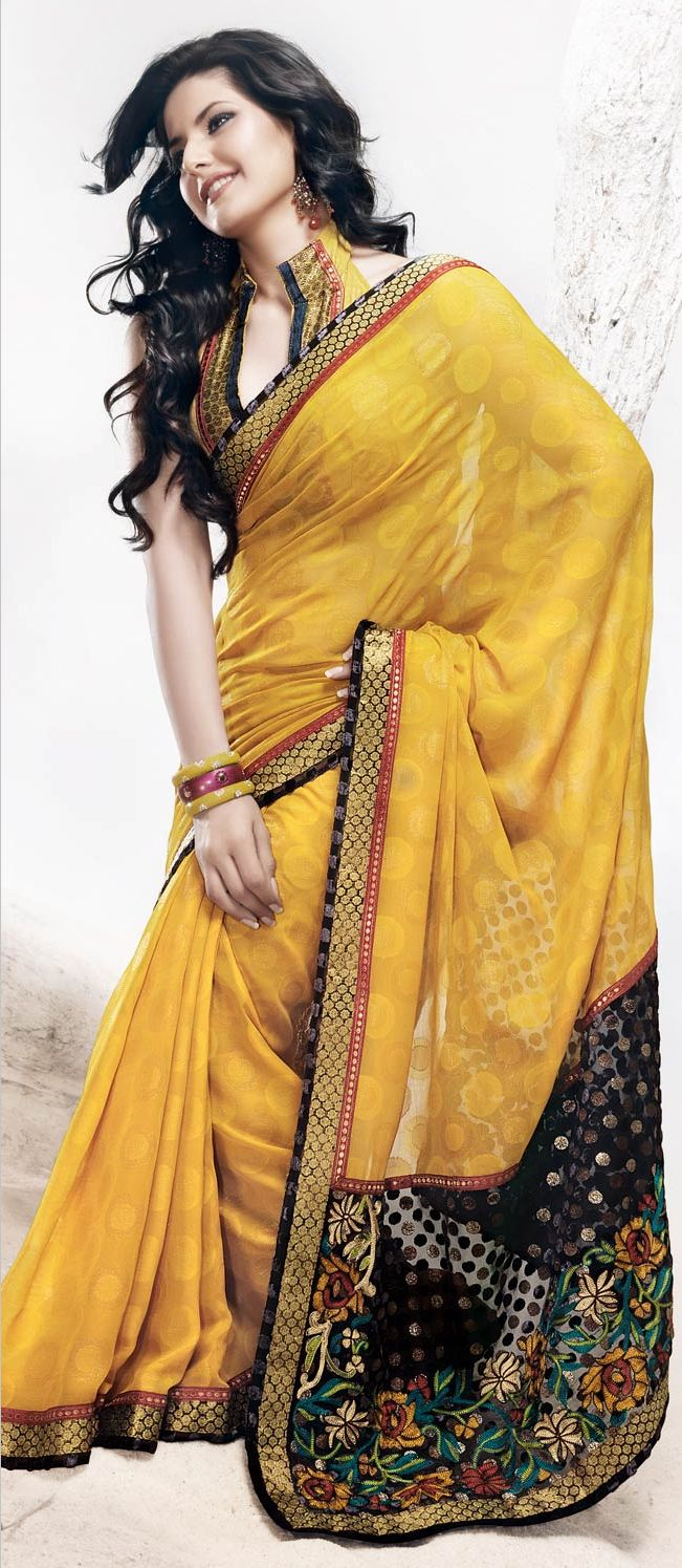 Sunrise #Yellow Faux Georgette #Saree with Blouse @ $56.82