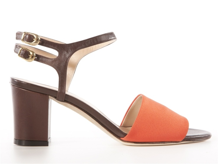 Orange - brown silk and leather sandals