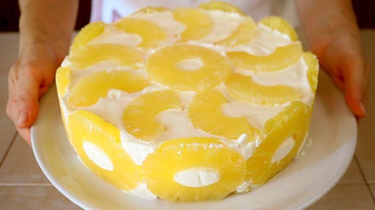 TORTA FREDDA YOGURT & ANANAS Ricetta facile senza cottura - No Bake Pine...