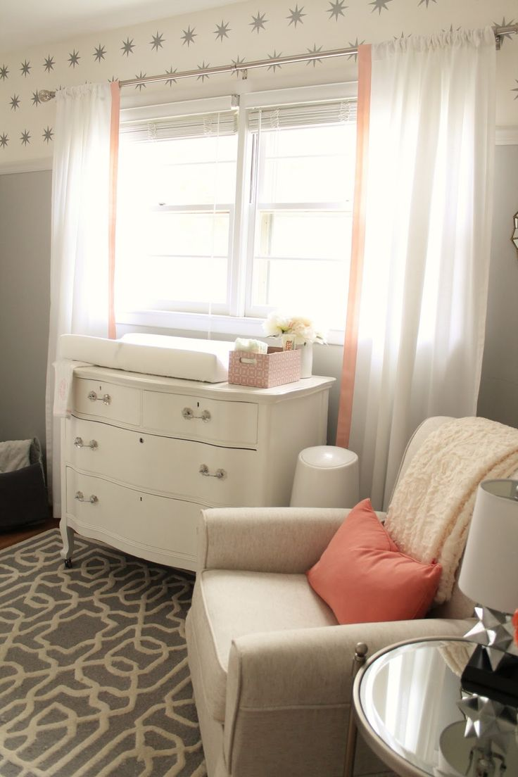 Nod milo glider with ikea ranarp floor lamp transitional nursery - 12th And White Peach And Gray Nursery Reveal