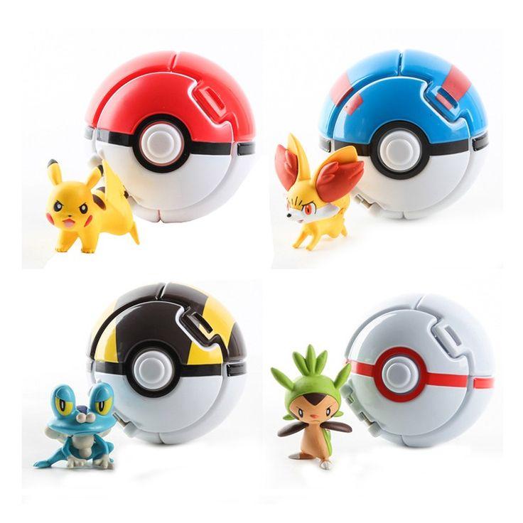 Gooi automatisch Bounce Pokeball + willekeurige Pokemon Pikachu Anime actie cijfers speelgoed