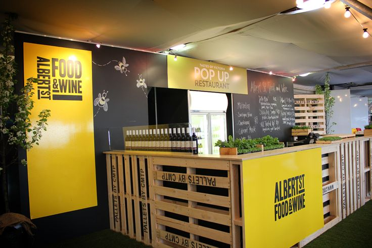A recent project utilising wood pallets throughout the build.The Taste of Victoria area at the Royal Melbourne Show.