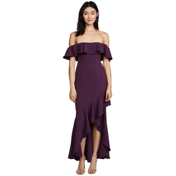LIKELY Cabrera Gown (510 CAD) ❤ liked on Polyvore featuring dresses, gowns, deep purple, off shoulder gowns, high low ball gown, purple evening dress, short-sleeve maxi dresses and off the shoulder ball gown