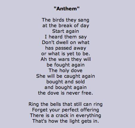 ring the bells cohen lyrics