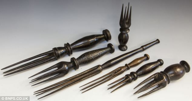 These are a set of ceremonial forks from tribal Fiji that were used to eat the bodies of rival tribesmen