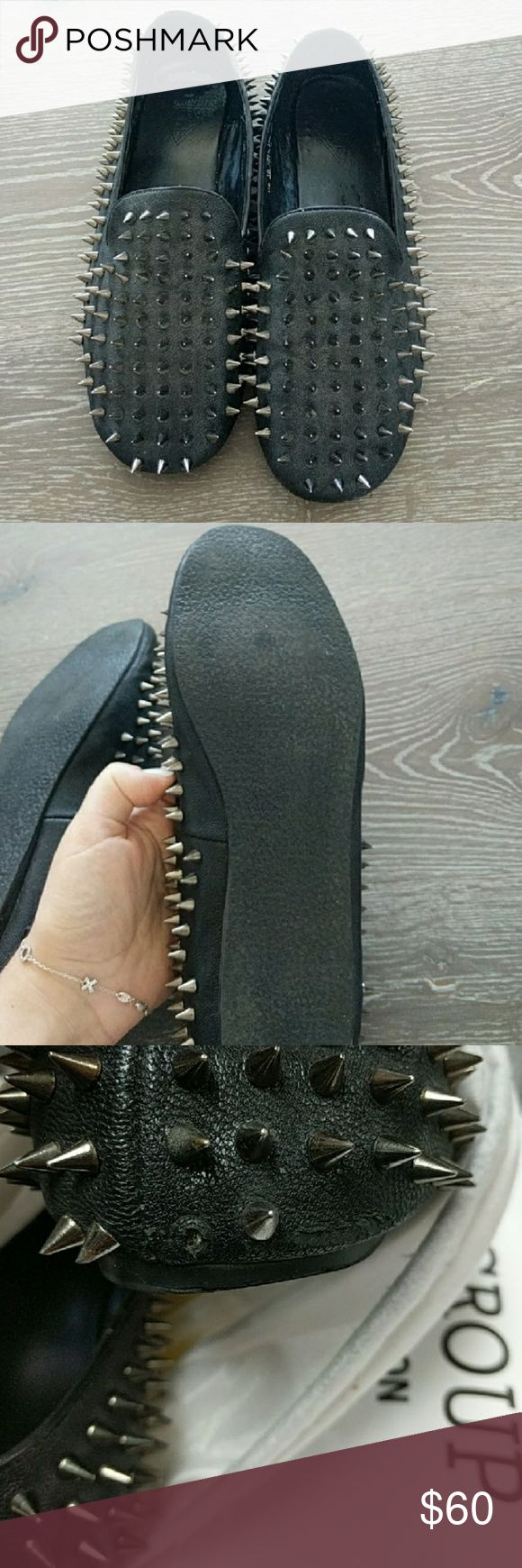 UNIF Hellraisers Overall great, used condition. No stains or odors. Unif Hellraisers in a Womens  size 10.  Small wear/rub marks on the lower back and missing 1 spike.  Black leather with silver spikes.  Please feel free to ask any questions you may have. UNIF Shoes Flats & Loafers