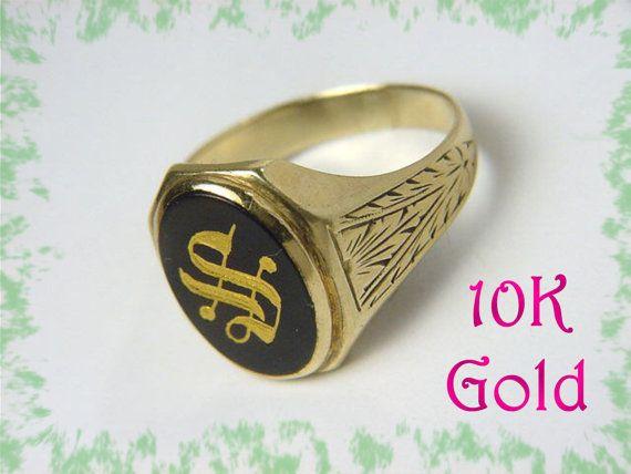 Gold Signet Ring Initials