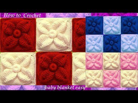 Como tejer con Ganchillo Crochet punto de hojas acolchadas en doble relieve - YouTube
