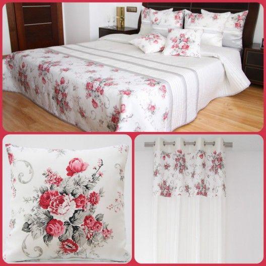 Dekoračný  biely set do spálne v štýle vintage s kyticou červených kvetov