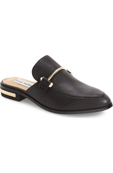 Steve Madden Laaura Backless Loafer - Black Leather