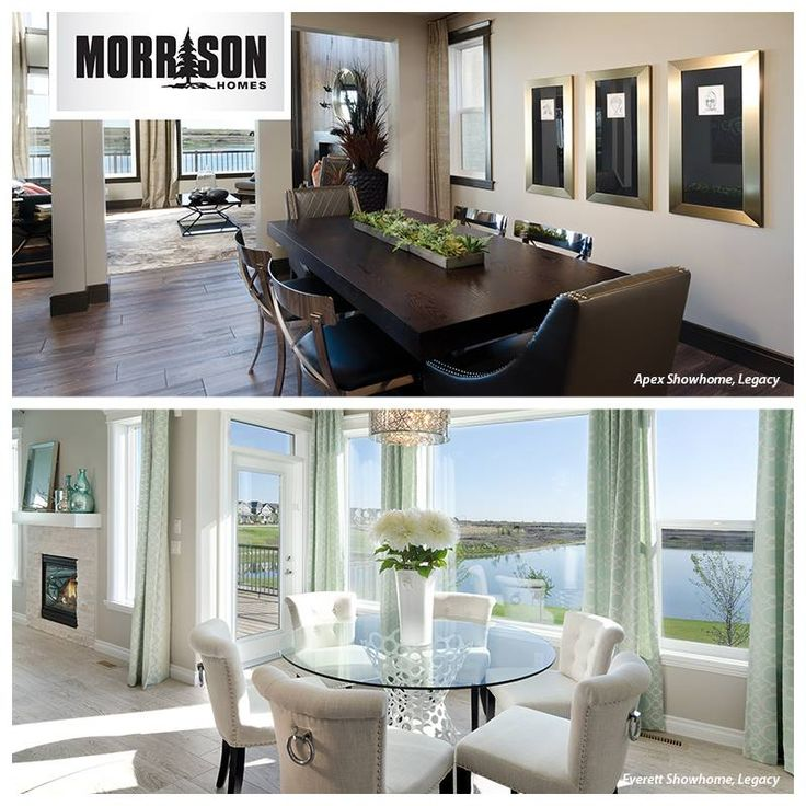 It's almost the weekend, right? Time for This or That Thursday!  Would you rather a dining room with dark wood tones and bold chairs (top) or a light, bright and airy look with lots of white and a glass table (bottom)?