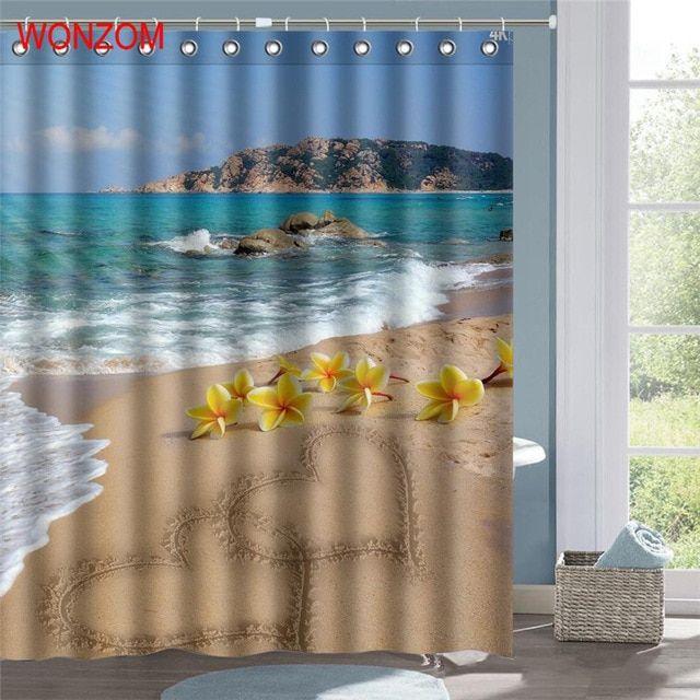 Wonzom Wave Beach Waterproof Shower Curtain Serenity Bathroom