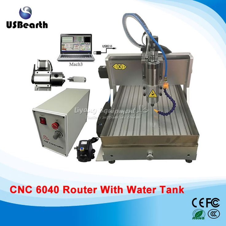 Desktop CNC wood carving machine cnc 6040 4 axis USB metal engraving machine with water tank