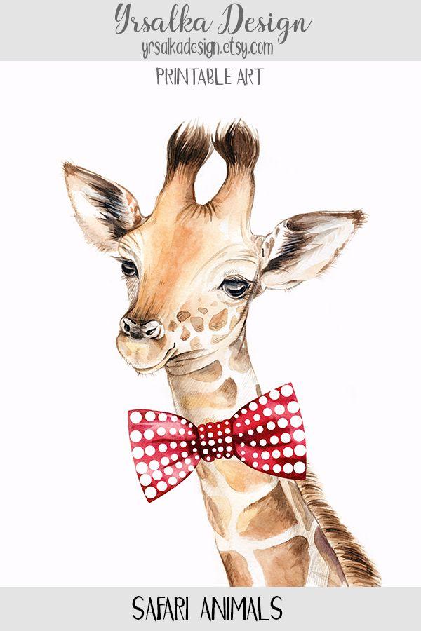 Giraffe With Bow Tie Print Safari Nursery Animals Wall Decor Etsy Safari Animals Nursery Safari Nursery Safari Animal Prints