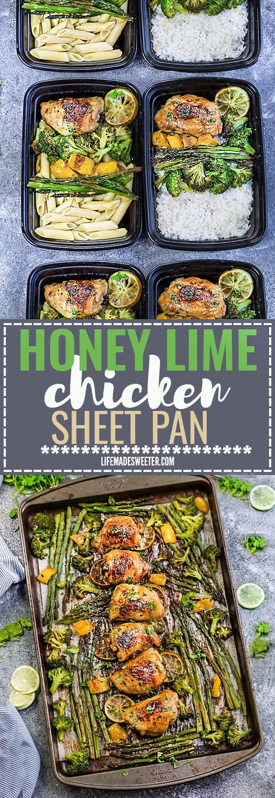 This Easy Honey Lime Chicken Sheet Pan Meal Prep Bowl recipe is the perfect easy dinner for busy weeknights. Best part of all, made in just ONE sheet pan and full of tender asparagus and broccoli. Best of all, is great for weekly Sunday meal prep or leftovers are great for lunch bowls for work or school.
