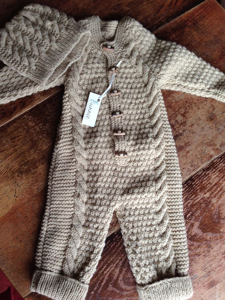 Baby Boy Cable Knit One Piece And Hat Set
