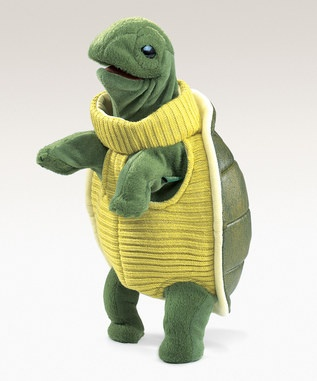 This Folkmania Turtleneck Turtle Puppet ($18) is a cute enough gift on his own, but make him a learning experience by adding a book on turtles and other aquatic animals, or even one of those 'backyard nature explorers' kits that you can buy at many toy stores/on-line locations, maybe your little friend will find a real, live turtle to examine!  www.Zulily.com