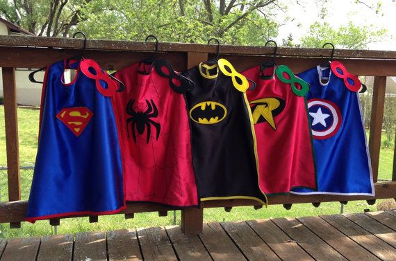 Superhero Cape Party Pack, Set of 5 Kid's Capes and Masks-Superman, Spiderman, Batman, Robin and Captain America Super Hero Capes with Masks on Etsy, $159.00
