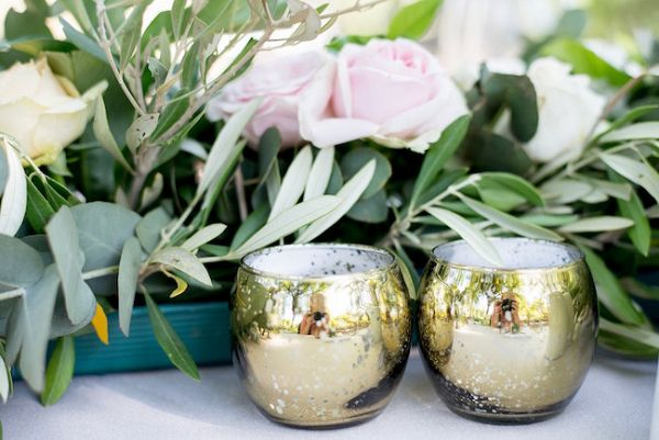 Gold Votive Holders and Greenery Runner    #weddingdecor #greenery