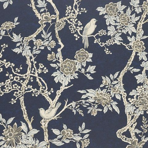 Marlowe Floral - Prussian Blue - Florals - Wallcovering - Products - Ralph Lauren Home - RalphLaurenHome.com