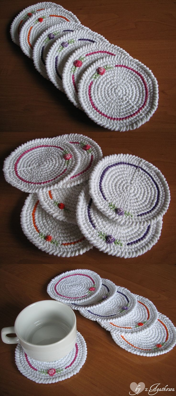 Lovely crocheted coasters with embroidered roses.