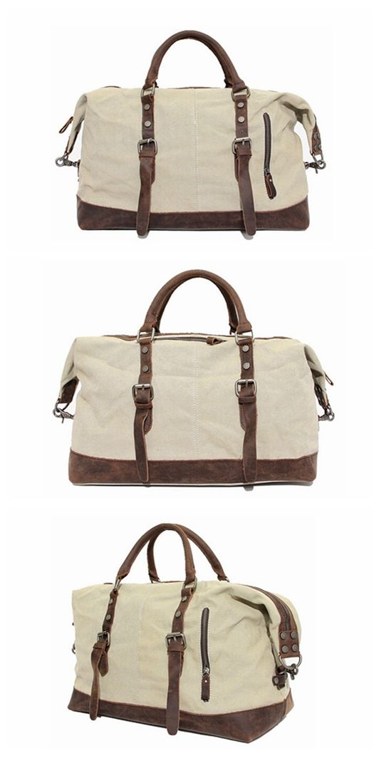 Handmade Waxed Canvas Leather Travel Bag Dufulle Bag Holdall Luggage Weekender Bag