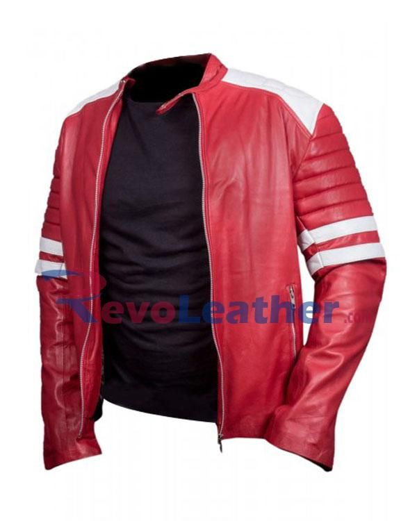 Fight Club Brad Pitt Red Leather Jackets  In Fight Club movie Brad Pitt wearing the red leather jackets, The Brad Pitt Red leather biker jacket is made of genuine Leather with Two white stripes on both sleeves and white patches on shoulders. It is strongly stitched that can never torn and will never change its color, fight club red biker jacket which gives an inspirational effect to the youngsters as well as bikers, red mens leather jacket is made with special type of sheep nappa soft…